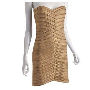 BCBG MAXAXRIA Bandage Dress in Metallic Gold.